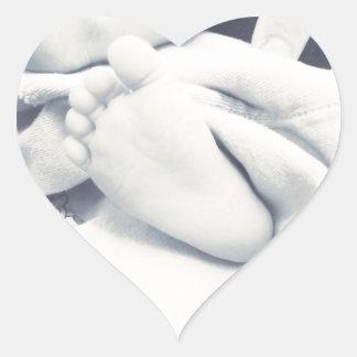 black white baby feet modern heart sticker
