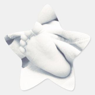 black white baby feet modern star sticker