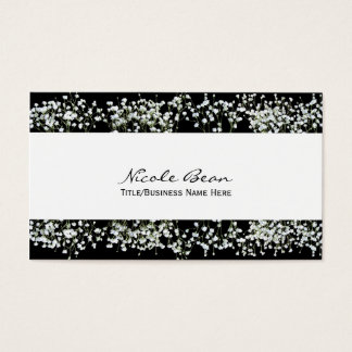 Black & White Babys Breath Floral Business Cards