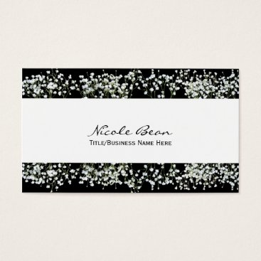 Professional Business Black & White Babys Breath Floral Business Cards
