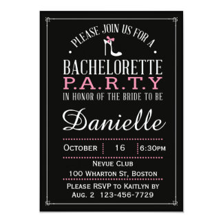 Black & White Bachelorette Party Pink High Heel Card