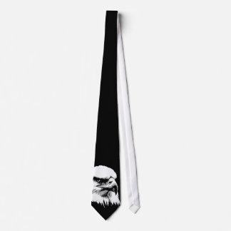 Black & White Bald American Eagle Neck Tie