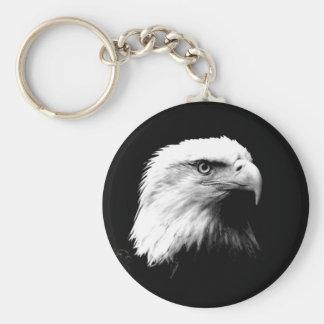 Black & White Bald Eagle Basic Round Button Keychain