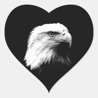 Black & White Bald Eagle Heart Sticker