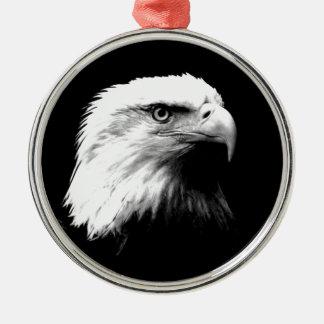 Black & White Bald Eagle Metal Ornament