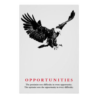 Black White Bald Eagle Motivational Opportunities Poster
