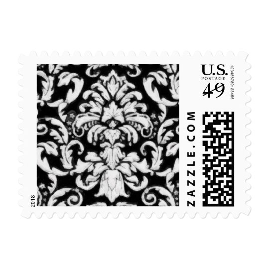 Black White Baroque Damask Brocade Postage Stamp