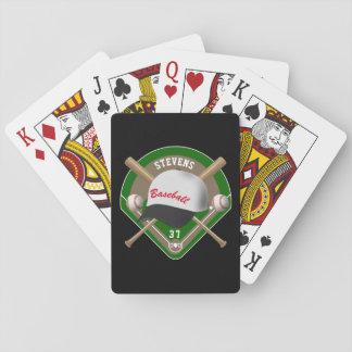 Black | White Baseball Diamond Player Name Number Playing Cards