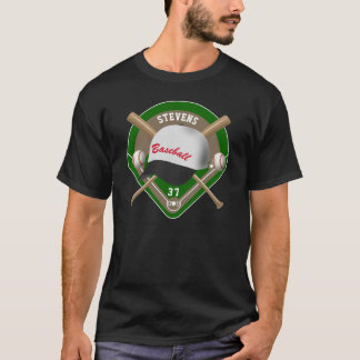 Black | White Baseball Diamond Player Name Number T-Shirt
