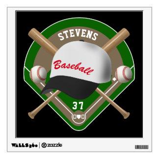 Black | White Baseball Diamond Player Name Number Wall Decal