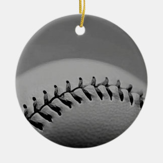 Black & White Baseball Double-Sided Ceramic Round Christmas Ornament