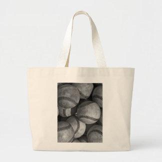 Black & White Baseball Large Tote Bag