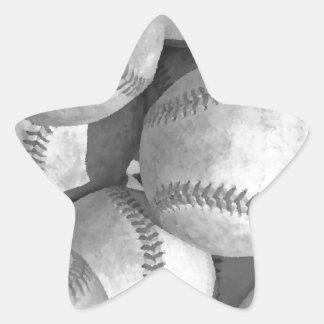 Black & White Baseball Star Sticker