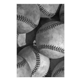 Black & White Baseball Stationery