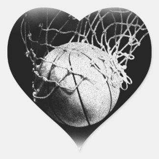 Black & White Basketball Art Heart Sticker