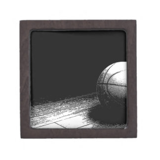 Black White Basketball Art Keepsake Box