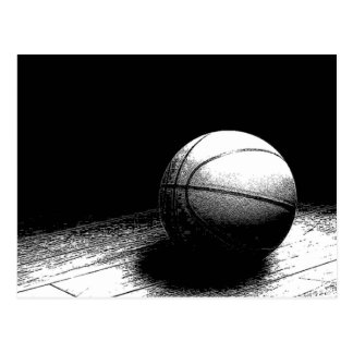 Black White Basketball Art Postcard