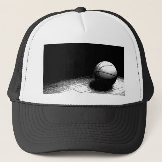 Black White Basketball Art Trucker Hat