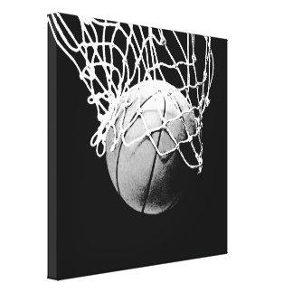 Black & White Basketball Artwork Canvas Print