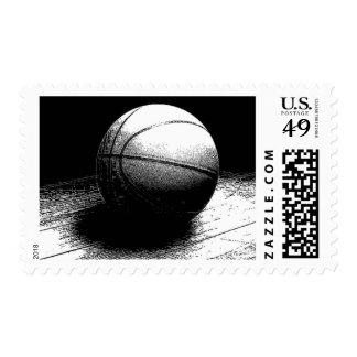 Black & White Basketball Artwork Postage Stamp