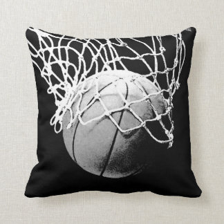 Black & White Basketball Artwork Throw Pillow