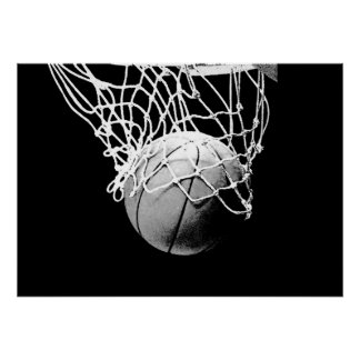 Black White Basketball Ball & Net Print Poster