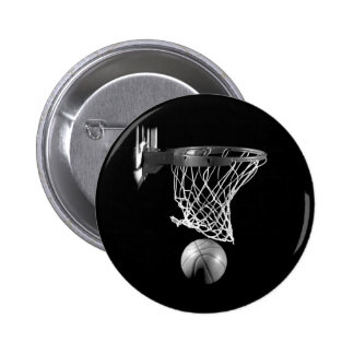 Black & White Basketball Button