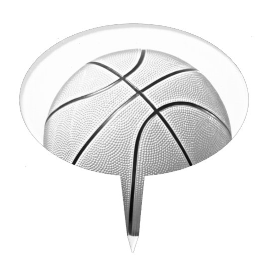 Black & White Basketball Cake Topper