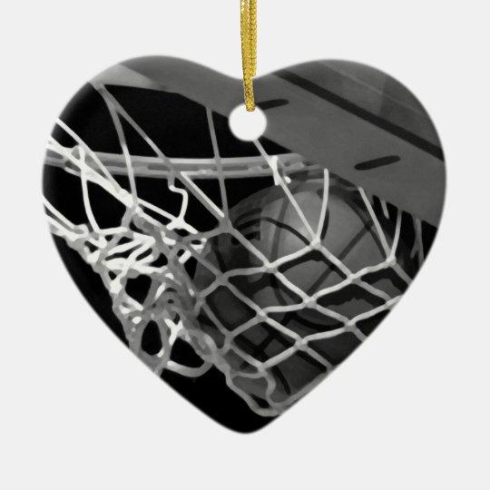 Black & White Basketball Ceramic Ornament