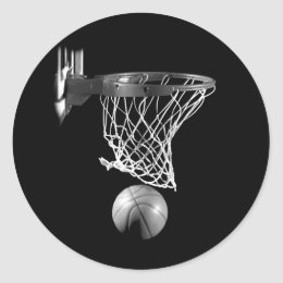 Black & White Basketball Classic Round Sticker