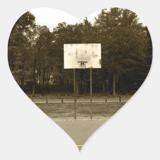 Black & White Basketball Court Heart Sticker