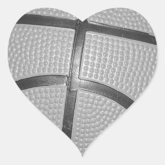 Black & White Basketball Heart Sticker