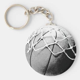 Black & White Basketball, Hoop, Net Keychain