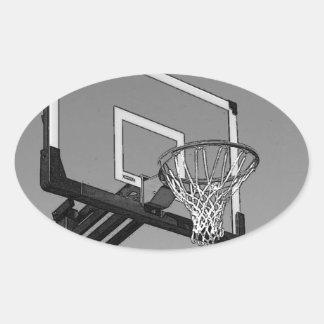 Black & White Basketball Hoop Oval Sticker