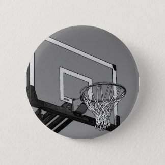 Black & White Basketball Hoop Pinback Button
