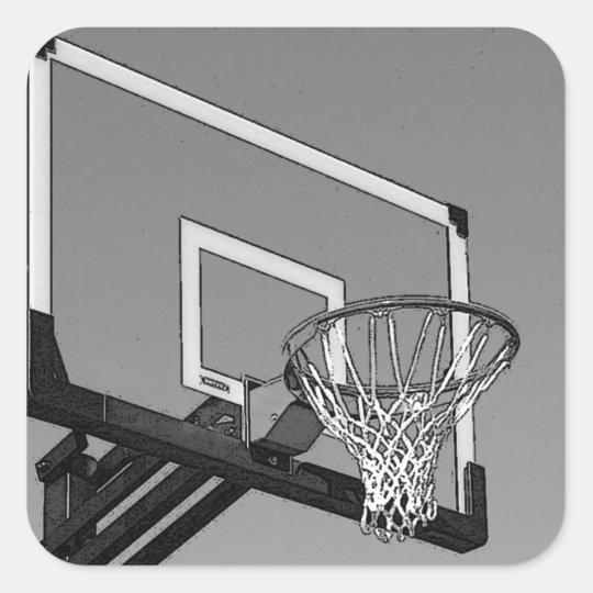 Black & White Basketball Hoop Square Sticker