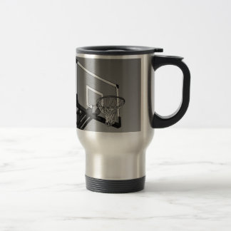 Black & White Basketball Hoop Travel Mug