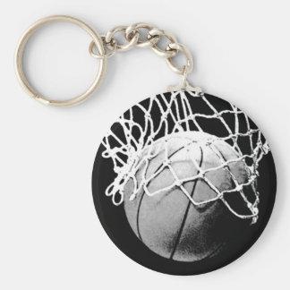 Black & White Basketball Basic Round Button Keychain