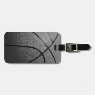 Black White Basketball Luggage Tag