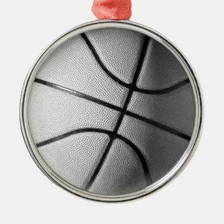 Black & White Basketball Metal Ornament