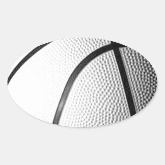 Black & White Basketball Oval Sticker