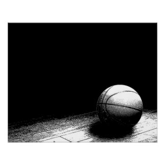 Black & White Basketball Perfect Poster