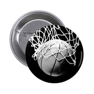Black & White Basketball Pinback Button