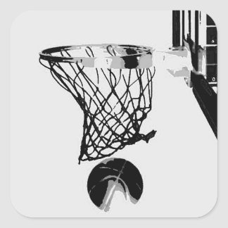 Black & White Basketball Pop Art Sticker Square Sticker