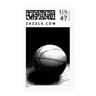 Black & White Basketball Postage Stamp