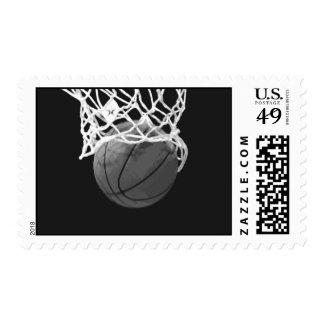 Black & White Basketball Postage Stamps