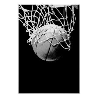 Black White Basketball Print Poster