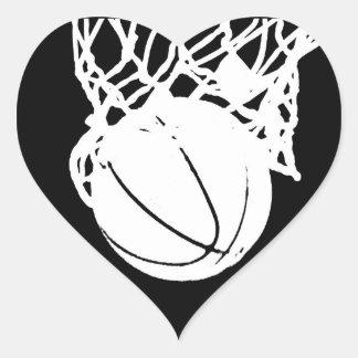 Black & White Basketball Silhouette Heart Sticker