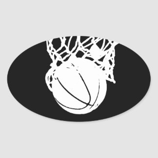 Black & White Basketball Silhouette Oval Sticker