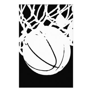 Black & White Basketball Silhouette Stationery